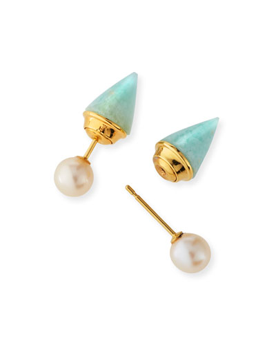 Mini Double Titan Amazonite & Pearl Jacket Earrings