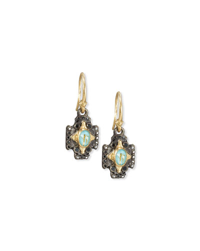 Old World Midnight Crivelli Cross Earrings with Black Diamonds