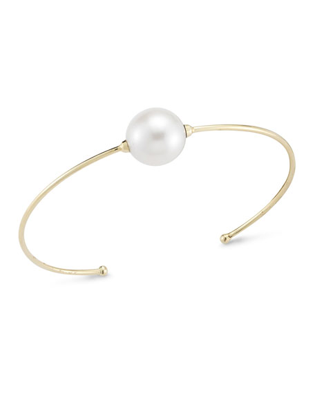 14K Single Pearl Cuff Bracelet