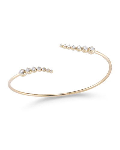 14K Curved Diamond Cuff Bracelet