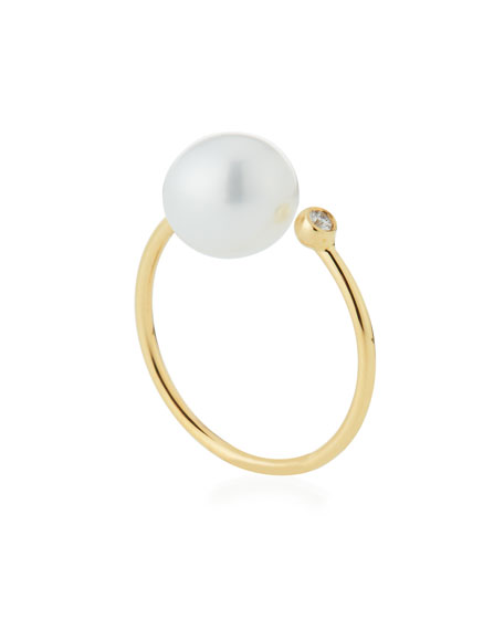 14K Gold Open Diamond & Pearl Ring