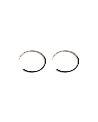 Two-Tone Hoop Earrings, Black/Rose Gold