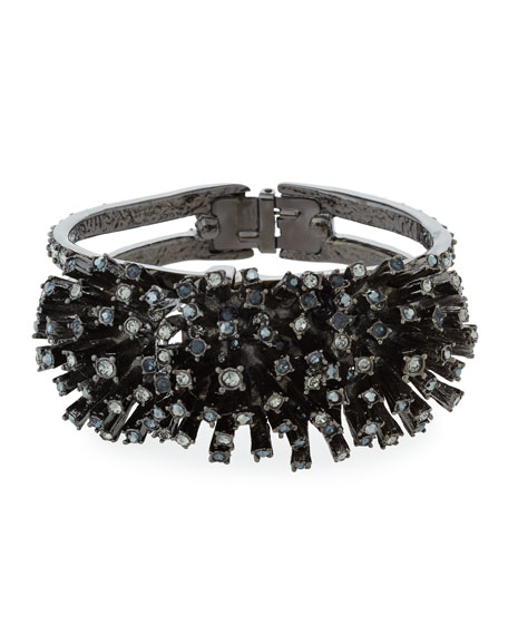 Crystal Firework Cuff Bracelet, Black