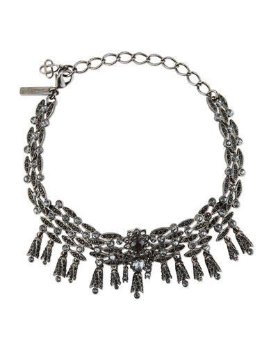 Tulip Crystal Choker Necklace, Silver