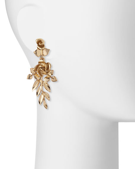 Rose and Leaf Vine Drop Earrings
