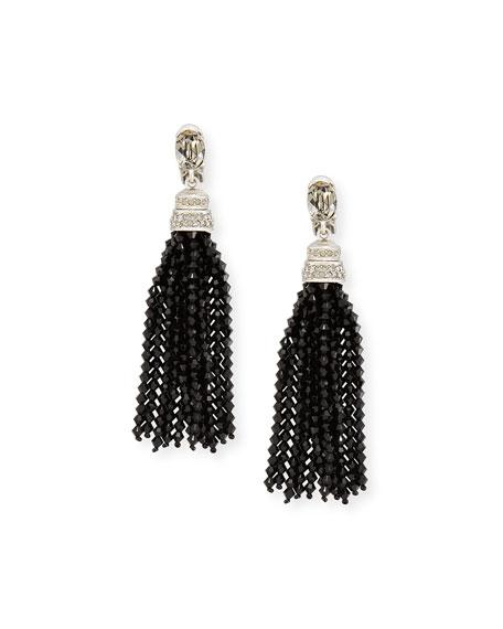 Long Beaded Crystal Tassel Clip Earrings, Black