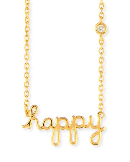 Happy Pendant Diamond Bezel Necklace