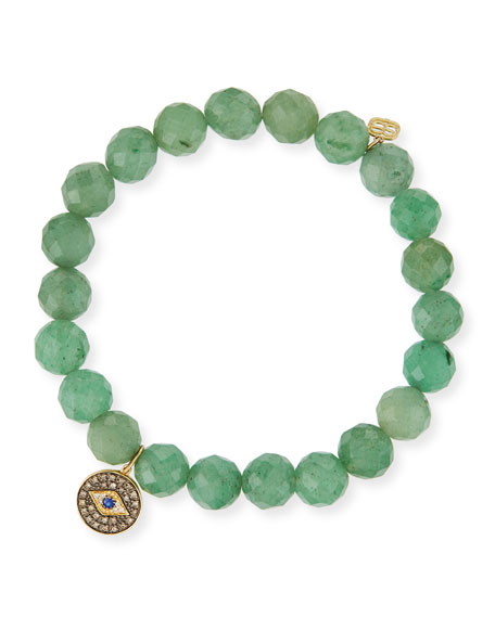 8mm Faceted Green Beaded Bracelet w/14K Gold Diamond Evil Eye Charm