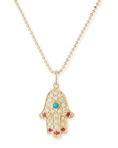 14K Hamsa Pendant Necklace with Turquoise, Diamonds & Rubies