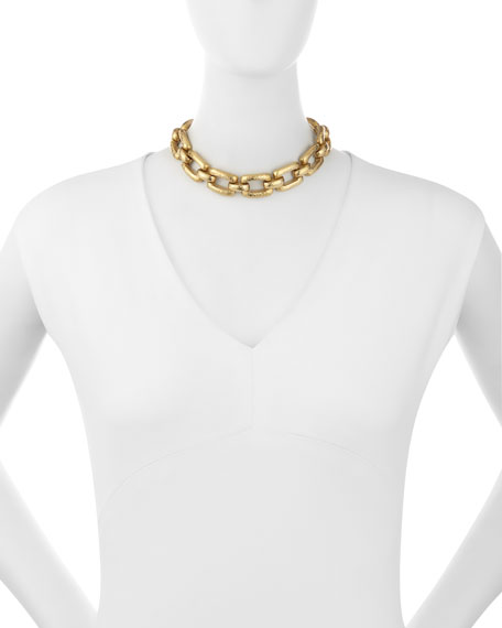 Bila Hammered Bronze Link Choker Necklace