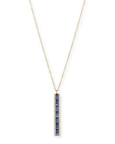 14K Diamond & Blue Sapphire Bar Pendant Necklace