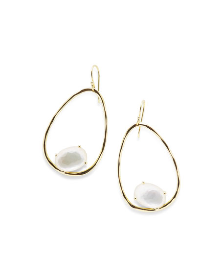 18K Rock Candy Tipped Oval Wire Earrings in Mother-of-Pearl