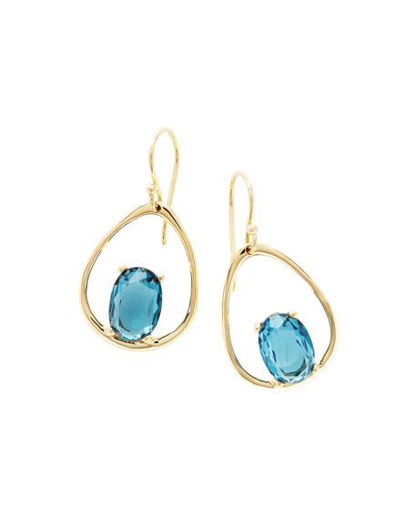 18K Rock Candy Wire Earrings in London Blue Topaz