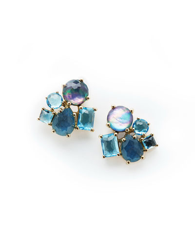 18K Rock Candy Cluster Earrings in Midnight Rain