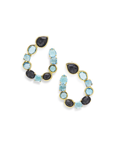 18K Rock Candy Mixed-Setting Hoop Earrings in Midnight Rain