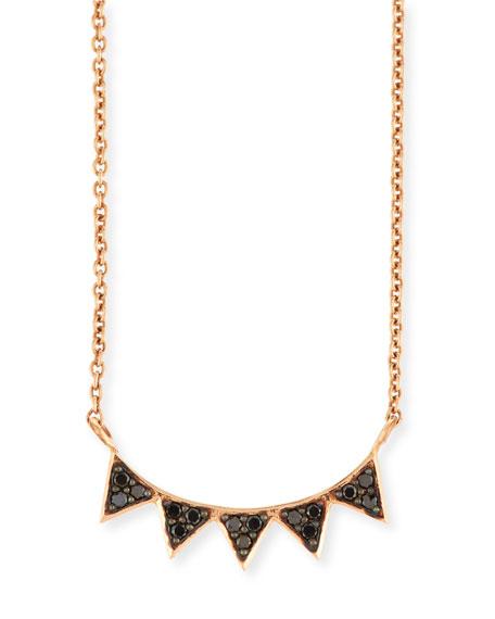 14K Rose Gold Black Diamond Triangle Necklace
