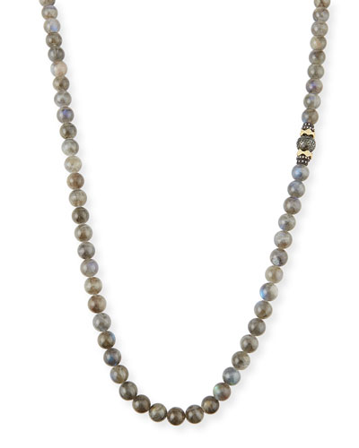 Old World Tahitian Pearl Necklace with Diamonds, 36
