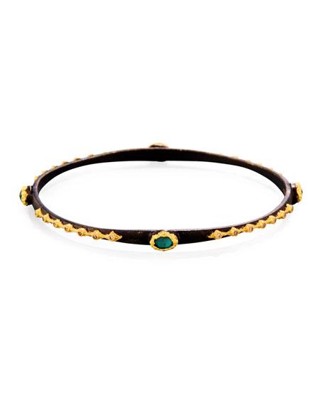 Old World Midnight Emerald Triplet Eternity Bangle Bracelet