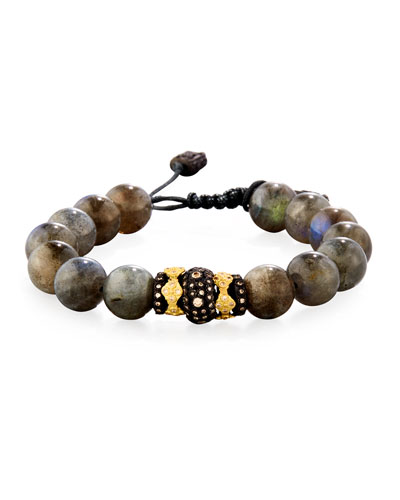 Old World Midnight Labradorite Bead Bracelet with Diamond Spacer