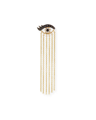 14K Long Fringe Lash Stud Earring with Diamonds