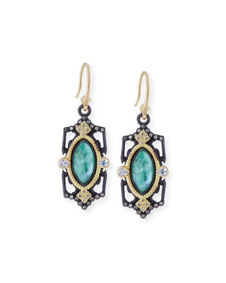 Armenta Old World Emerald Triplet Drop Earrings with