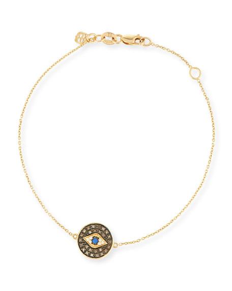 Sydney Evan Evil Eye Medallion Bracelet with Diamonds
