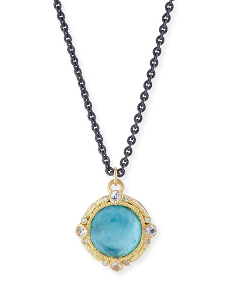 Armenta Old World Blackened Sterling Silver Round Pendant Necklace with Diamonds IDoRODFry