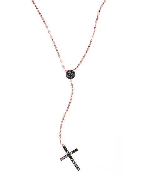 Reckless Rose Black Diamond Cross Necklace