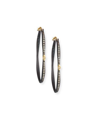 Old World Pavé Diamond Side Hoop Earrings