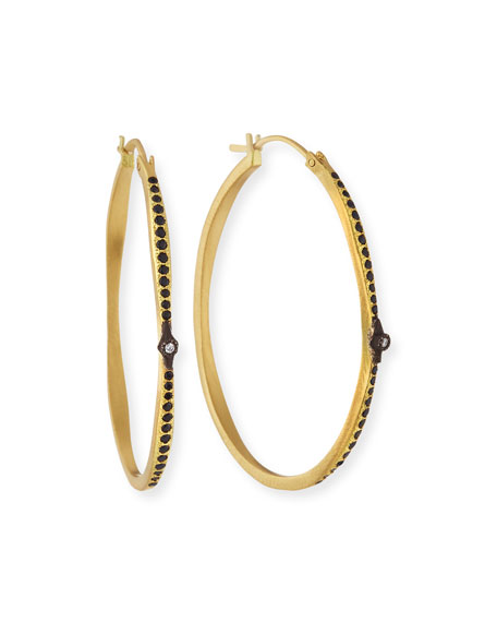 Armenta Old World Hoop Earrings with Black Sapphires