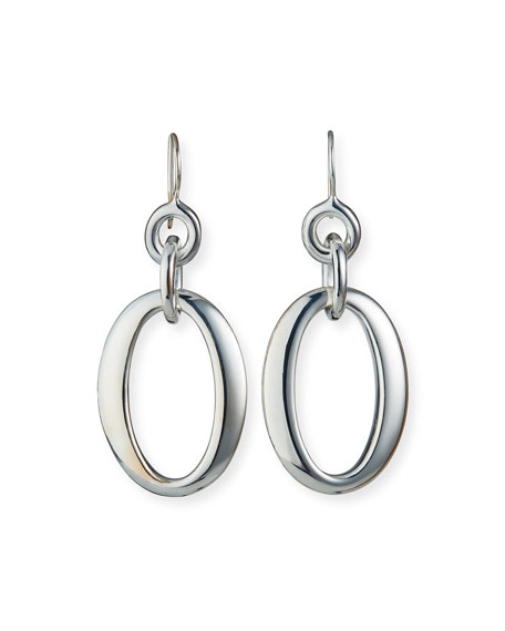 Silver Glamazon Short Oval Link Earrings