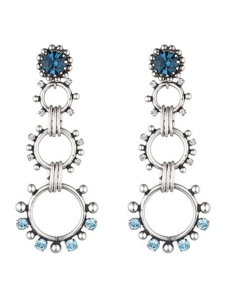 Dannijo Grayson Crystal Statement Earrings, Blue