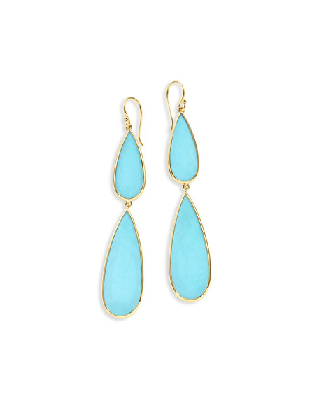 Ippolita 18K Rock Candy Double-Drop Turquoise Earrings