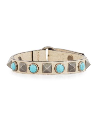 Rockstud Rolling Leather Bracelet