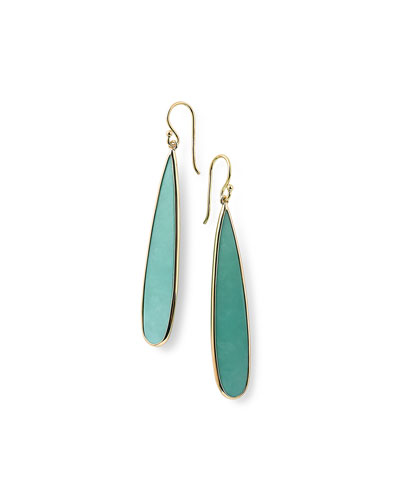 18K Rock Candy Turquoise Long Drop Earrings