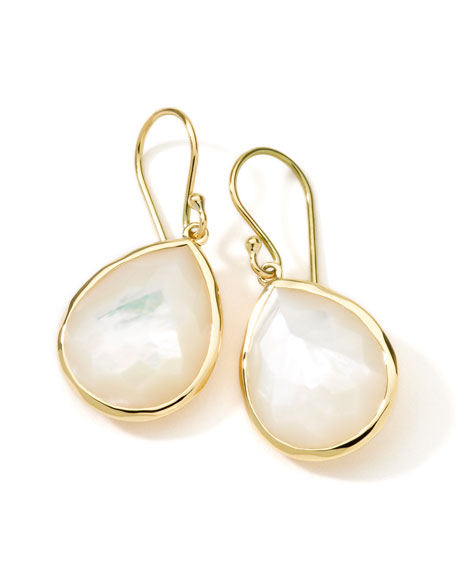 18k Gold Rock Candy Medium Mother-of-Pearl Teardrop Earrings