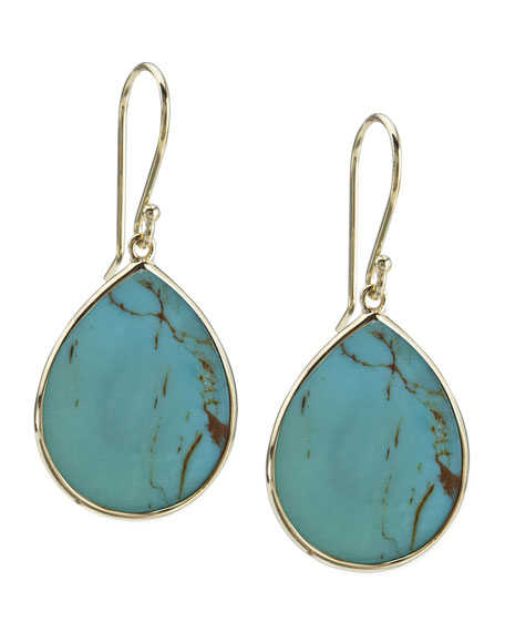 18k Small Teardrop Slice Earrings in Turquoise