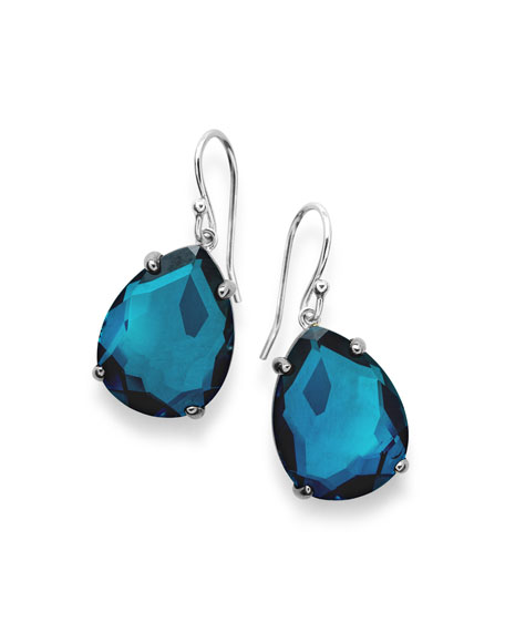925 Rock Candy Wonderland Pear Drop Earrings in Dark Blue Frost