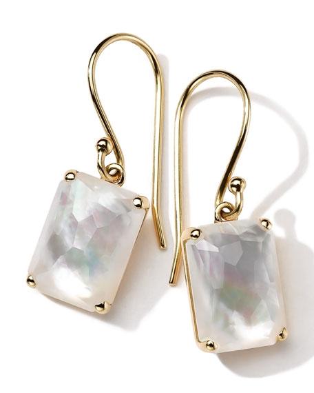18k Gold Rock Candy Gelato Single Rectangle Drop Earrings, Mother-of-Pearl