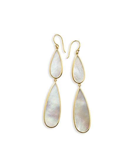 18K Polished Rock Candy Double-Drop Earrings