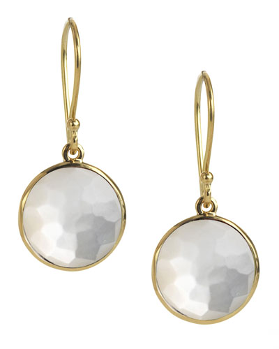 18k Mini Lollipop Earrings in Clear Quartz/Mother-of-Pearl