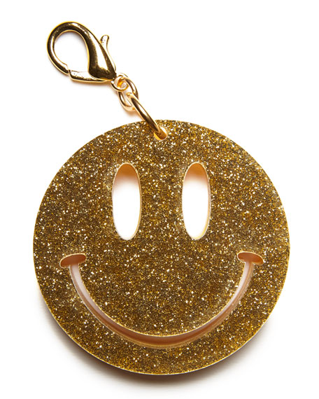 Happy Face Bag Charm, Yellow/Gold