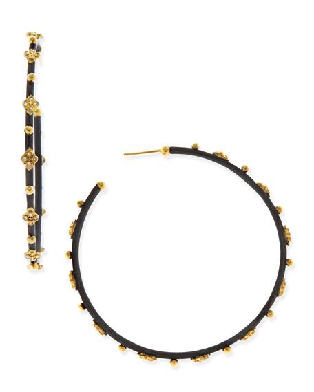 Diamond Crivelli Cross Large Hoop Earrings
