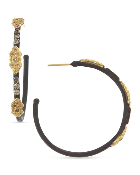18k & Midnight Diamond Scrolls Hoop Earrings