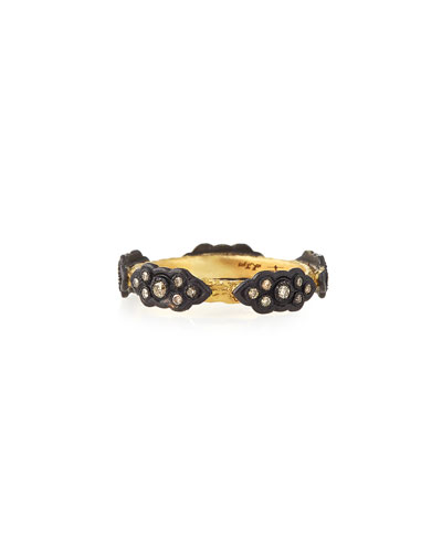 18k Champagne Diamond Stackable Scroll Ring, Size 5-8