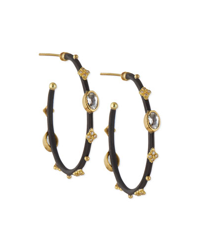 Midnight Sapphire & Diamond Small Hoop Earrings