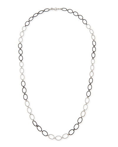 New World Large Silver Oval Link Necklace, 38