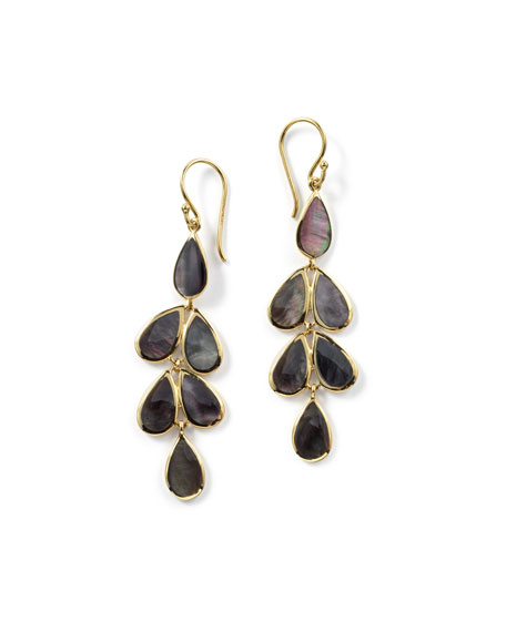 18K Rock Candy Teardrop Cascade Earrings in Black Onyx