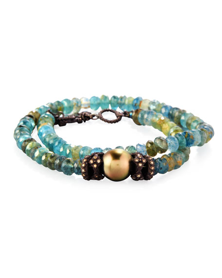 Armenta Old World Beaded Double-Wrap Bracelet with Diamonds