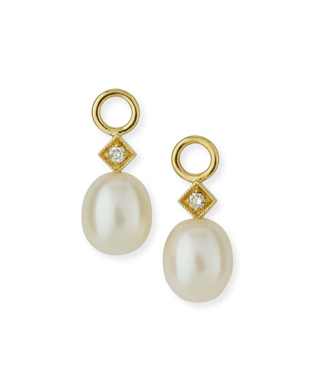 Jude Frances White Pearl Briolette Earring Charms Squ8o